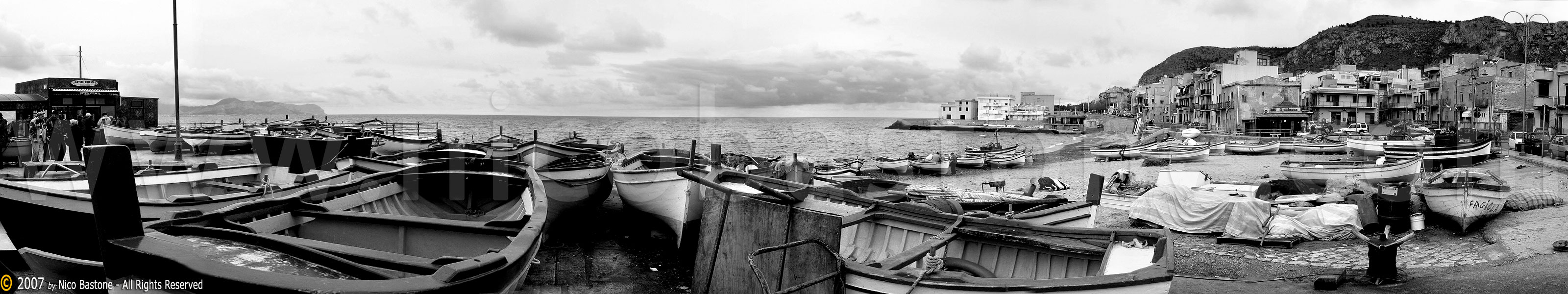 "Aspra, Bagheria PA ""Panorama con barche. Bianco e nero. - A large view with boats. Black & White"" Sicilia, Sicily, Sicile Foto, photos, fotos, immagini, images, pics"