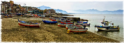 "Aspra, Bagheria PA ""Panorama con barche - A large view with boats 2185x768"""