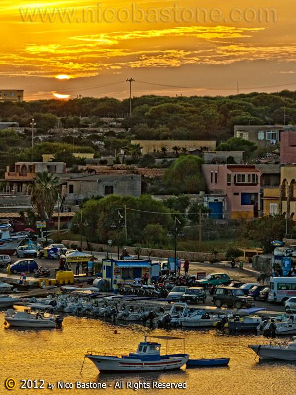 "Lampedusa 06, Isole Pelagie ""Tramonto con barche - Sunset with boats"""