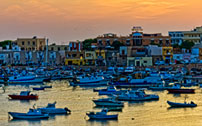 "Lampedusa 04, Isole Pelagie ""Tramonto con barche - Sunset with boats"""