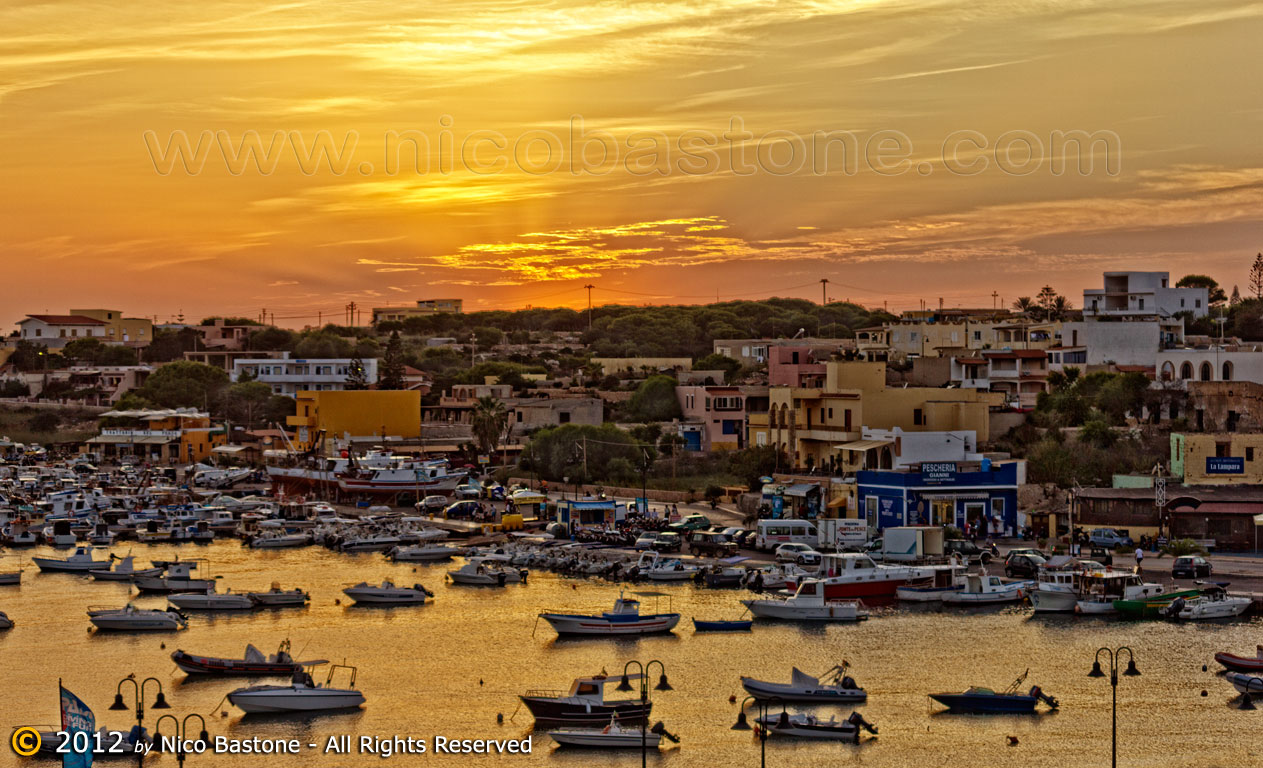 "Lampedusa 05, Isole Pelagie ""Tramonto con barche - Sunset with boats"""