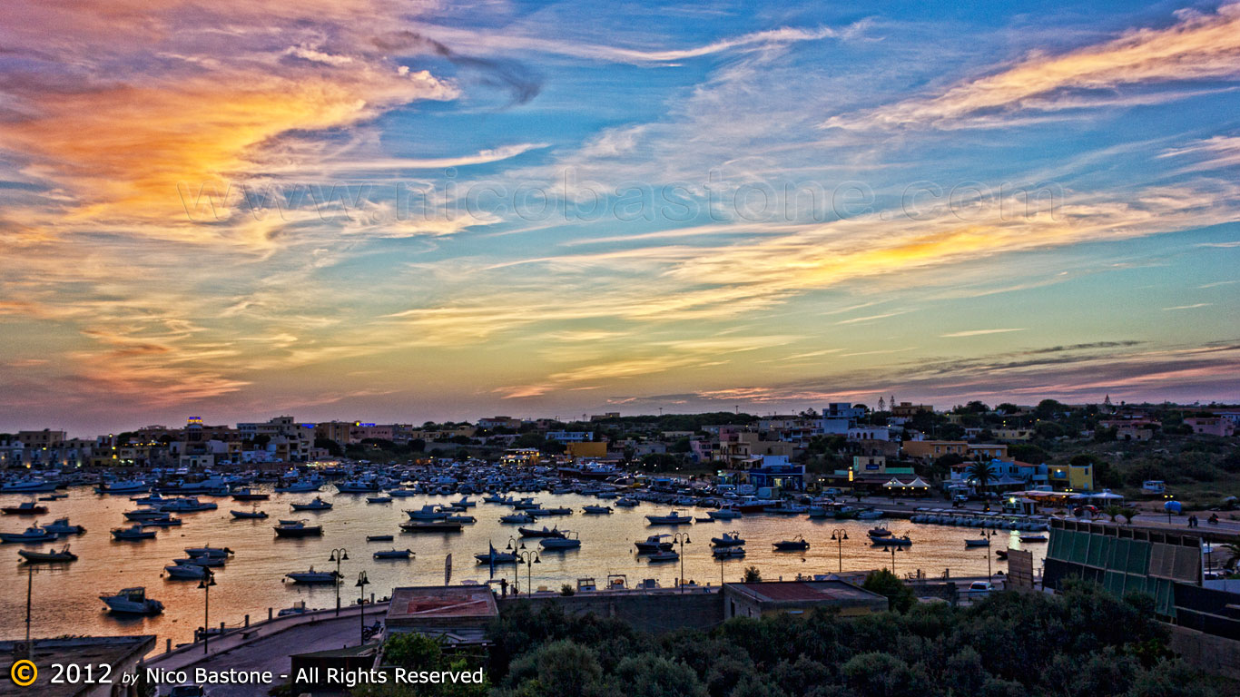 "Lampedusa 07, Isole Pelagie ""Tramonto con barche - Sunset with boats"""