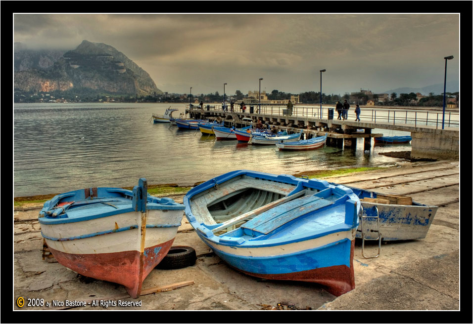 "Mondello, Palermo ""Porticciolo con barche - The little harbor with boats"" 3"