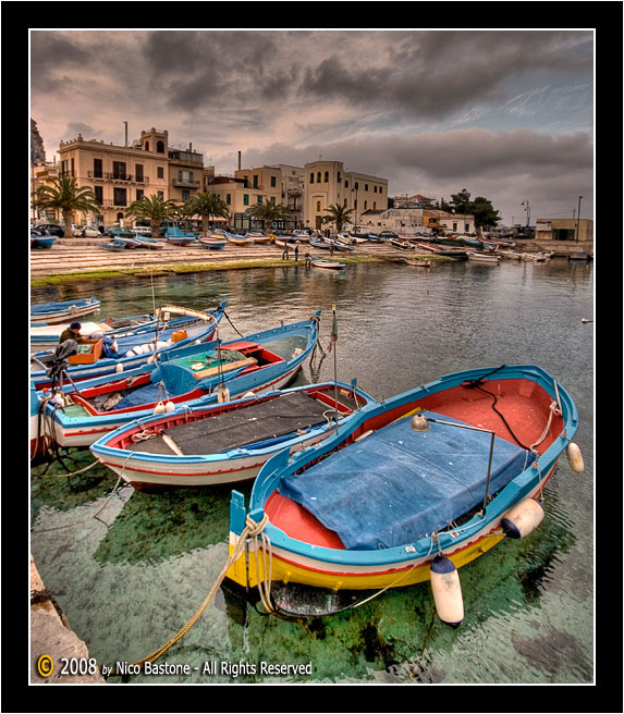"Mondello, Palermo ""Porticciolo con barche - The little harbor with boats"" 1"