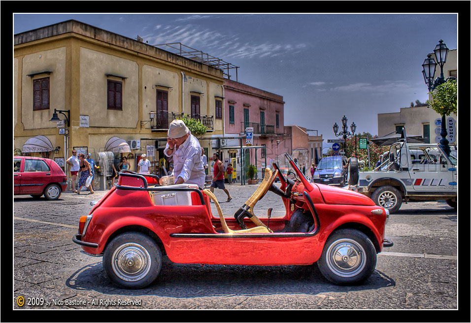 "Ustica PA ""La Cinquecento cabriolet - The red Fiat car 500"" - Elaborazione grafica in HDR, High Dynamic Range"