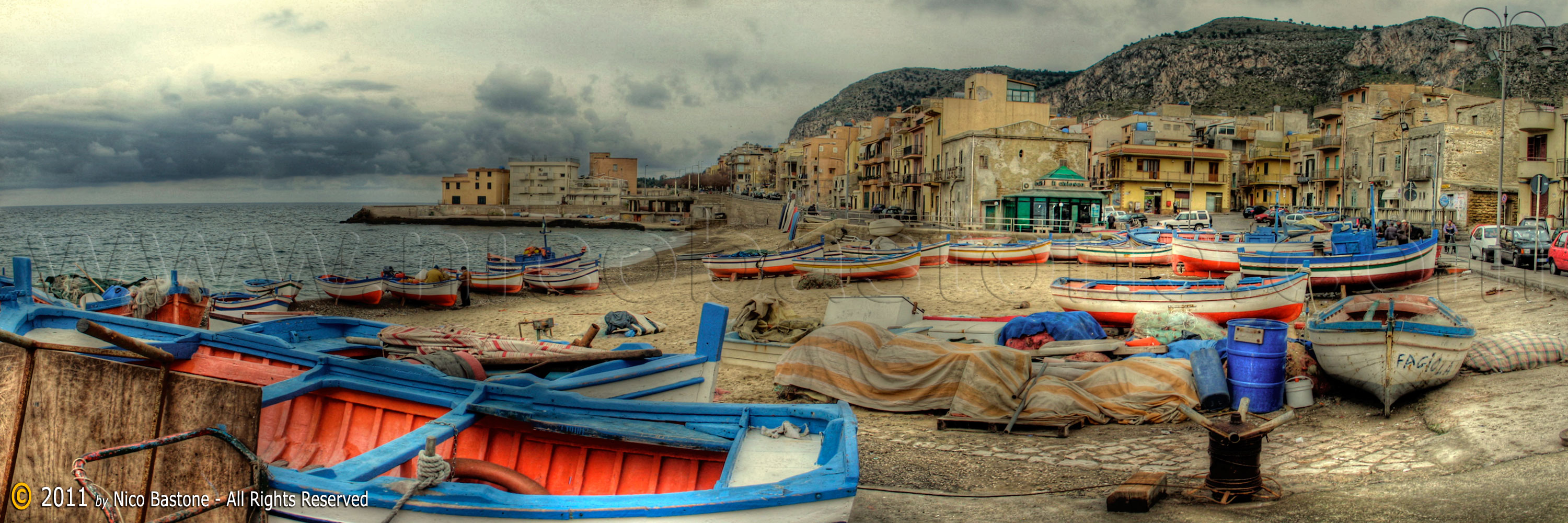 "Aspra, Bagheria PA ""Panorama con barche. - A large view with boats. 3000x1000 Sicilia, Sicily, Sicile Foto, photos, fotos, immagini, images, pics"