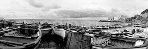 "Aspra, Bagheria PA ""Panorama con barche. Bianco e nero. - A large view with boats. Black & White"" 3200x600"