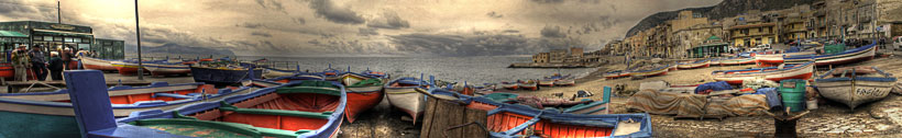 "Aspra, Bagheria PA ""Panorama con barche. - A large view with boats. 5000x768"